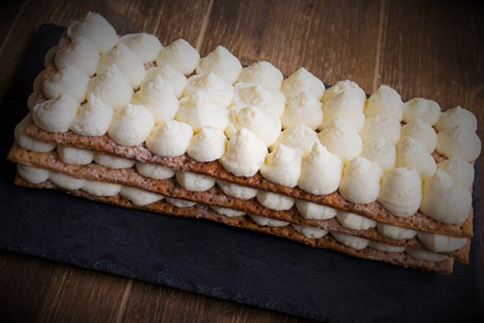 Millefeuille Cake With Cream And Fruit